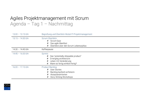 Agiles Management mit Scrum Agenda